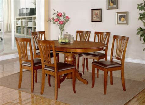 7pc Dining Room Set Oval Table And 6 Faux Leather Oval Dining Room Table Set