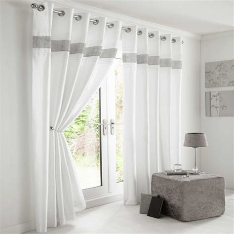 White And Silver Valance Diamante Eyelet Lined Curtains White Silver Tony S