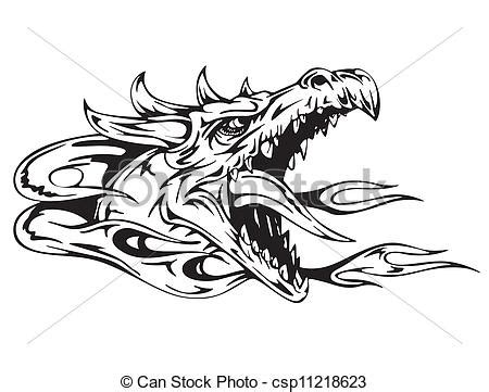 vector illustration of dragon head black and white vector