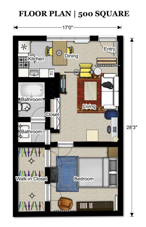 500 square foot house plans floor plans 500 sq ft 352 3 pinterest apartment