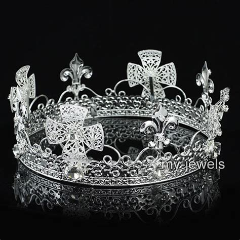 men s pageant imperial tiara full circle round silver king