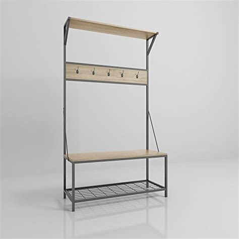 Metal Entryway Storage Bench With Coat Rack by Weathered Oak Metal Entryway Shoe Bench With Coat Rack