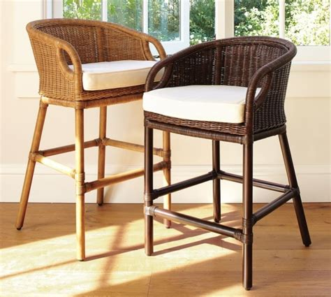 Design For Rattan Bar Stool Ideas Interior Captivating Brown Rattan Woven Frame In White Leather Cushion Bar Stool For Home