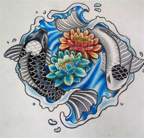 yin yang koi fish tattoo yin yang koi fish lotus flower back tattoos