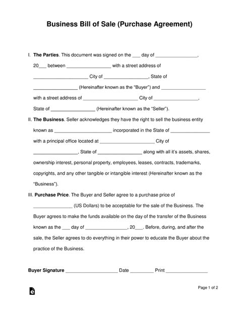 sle purchase agreements free business bill of sale form purchase agreement