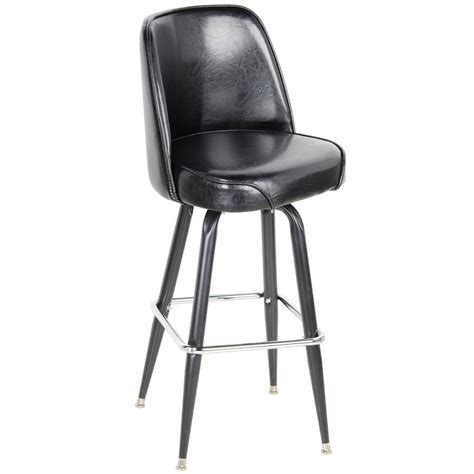 Wide Swivel Bar Stool by Lancaster Table Seating Deluxe Black Barstool With 19