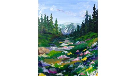 acrylic painting tutorial landscapes mountain meadow landscape beginner acrylic painting