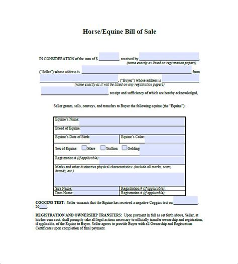 Horse Bill Of Sale 8 Free Sle Exle Format Download Free Premium Templates Bill Of Sale With Payment Plan Template