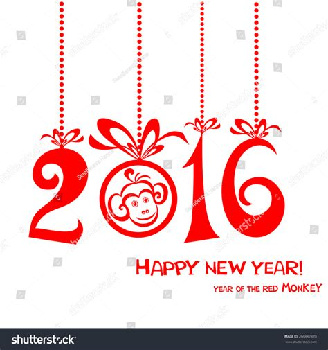 happy new year year of the monkey happy new year 2016 year stock vector 266882870