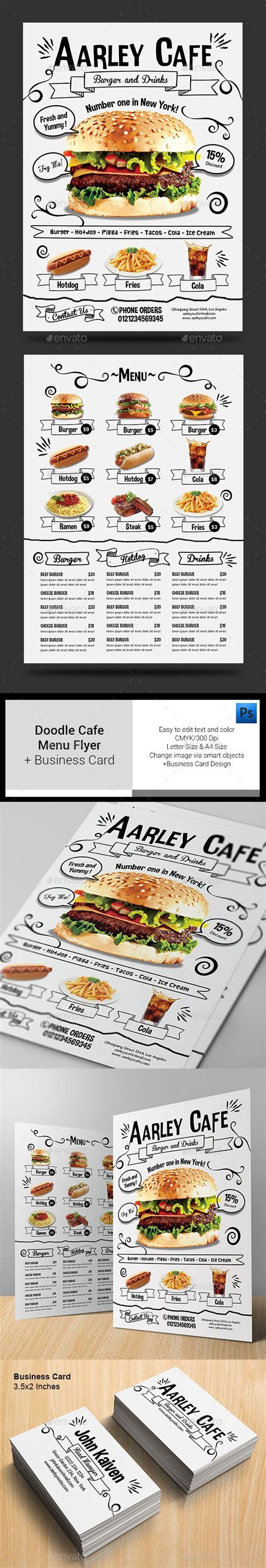 Fast Food Menu Card Templates by Doodle Cafe Menu Business Card Cafe Menu Card