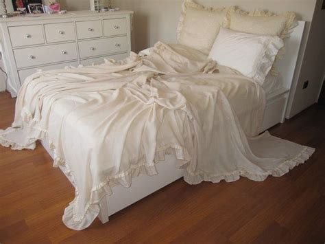 shabby chic ruffled bedding bed cover solid chagne cream lightweight king coverlet summer