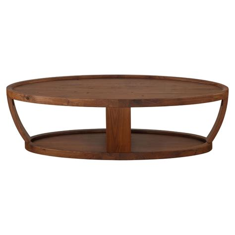 Rustic Walnut Coffee Table Oval Coffee Table Lower Shelf Rustic Walnut Dcg Stores