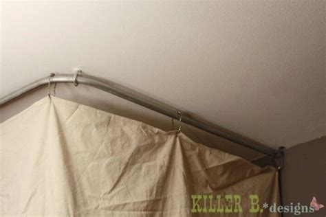 how to hang curtain rods from ceiling water tank other and drop cloths on