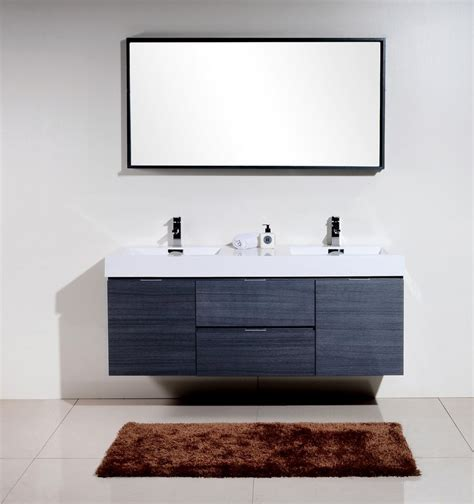Bliss 60 Quot Gray Oak Wall Mount Double Sink Modern Bathroom Modern Bathroom Sink And Vanity