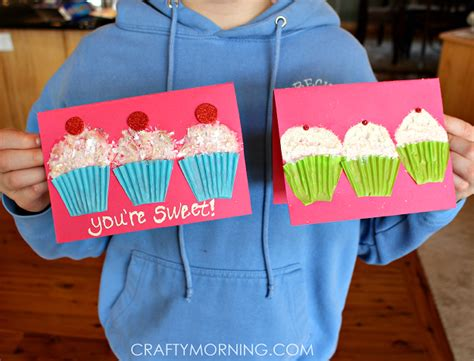 Paper Cupcake Craft - cupcake liner s day card idea crafty morning
