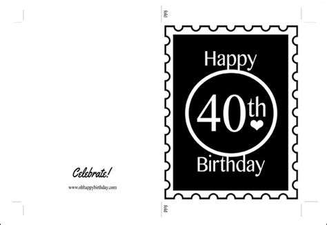 happy 40th birthday card black print on kraft cardstock