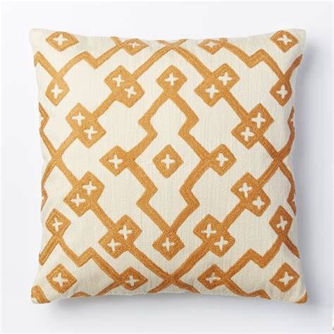 Crewel Pillow Covers by Crewel Lattice Pillow Cover Apricot West Elm