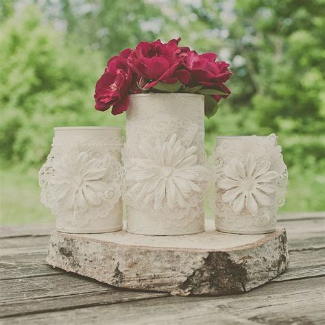 tin centerpieces 3 painted tin can wedding centerpiece wedding vases