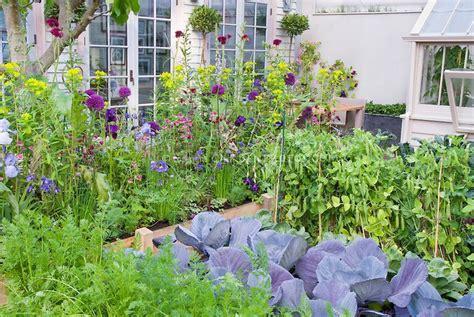 Flowers For Vegetable Garden Beautiful Vegetable And Flower Garden Vegetables Carrots Peas Cabbages Flowers Ireises