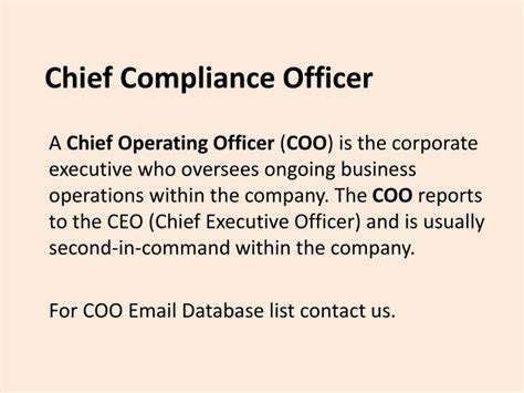 Corporate Compliance Officer by Ppt C Level Executives Database Powerpoint Presentation