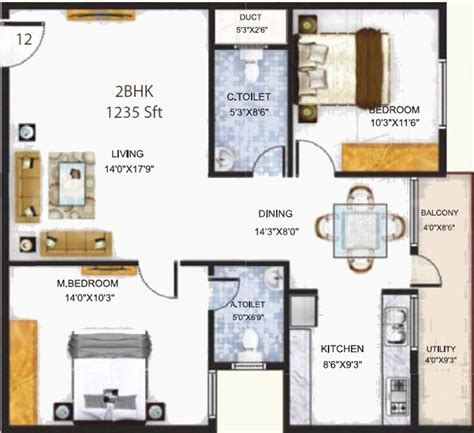 serenity floor plan 1235 sq ft 2 bhk 2t apartment for sale in baldota group serenity hosa road bangalore