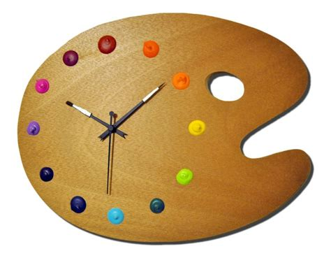 art wall clock artist palette wall clock with real paint globs for the