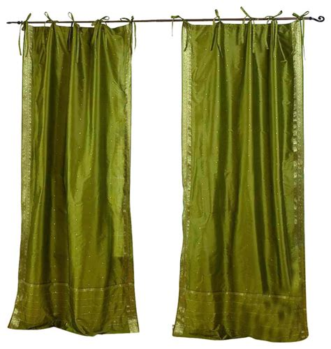 olive green sheer curtains olive green tie top sheer sari curtain drape panel