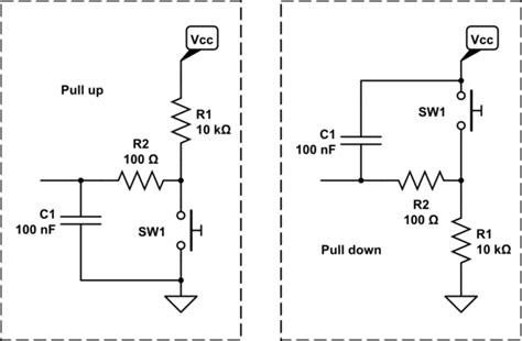 pull up resistor capacitance c led blinks even when i don t press the button electrical engineering stack exchange