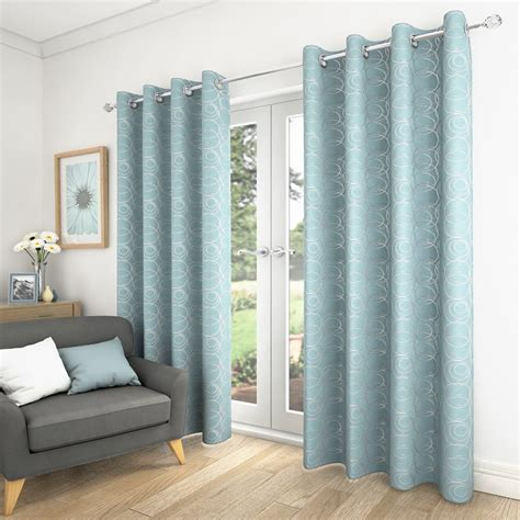 Blue Grey Curtains Saturn Swirls Fully Lined Eyelet Ring Top Curtains Duck Egg Blue Grey Ebay