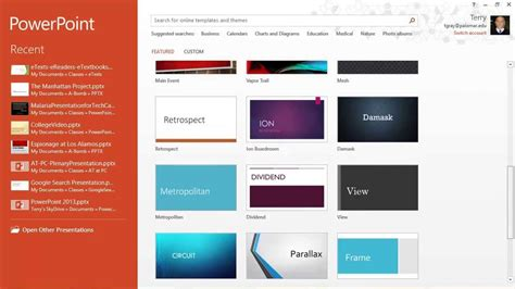 powerpoint 2013 templates themes the start screen