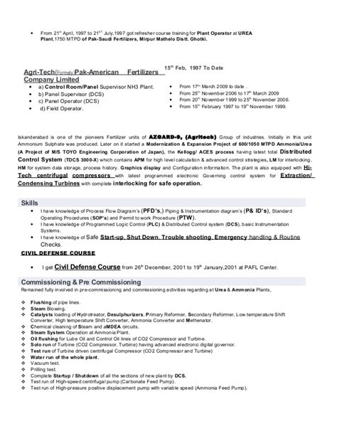 chemical plant operator resume resume ideas