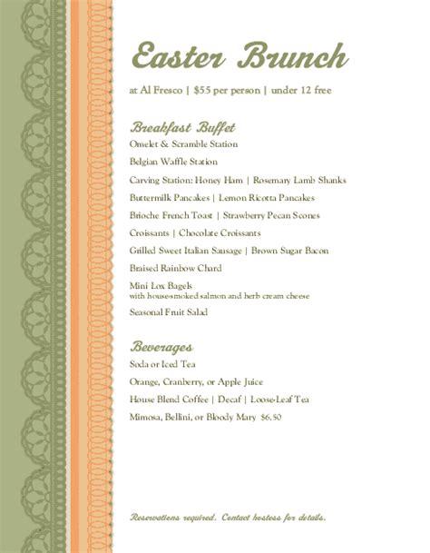 easter buffet menu letter easter menus