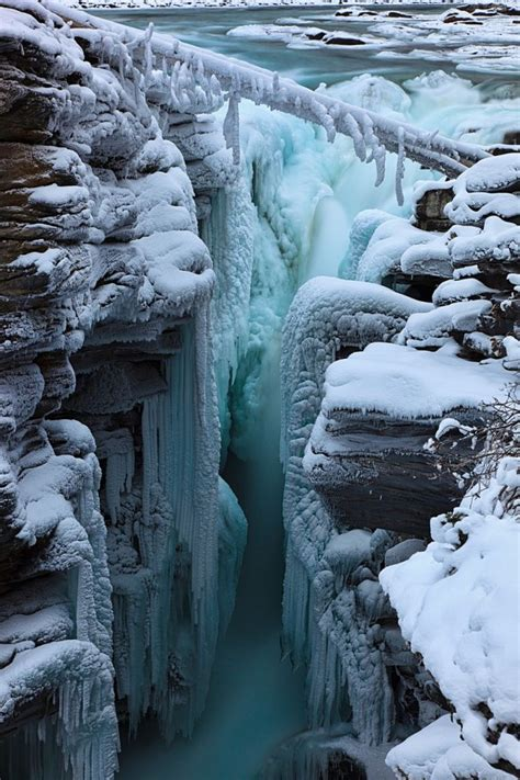 athabasca falls in winter so quiet a totally different