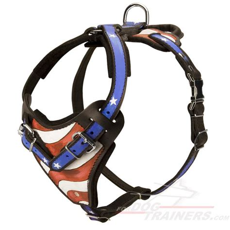 leather harness for dogs handpainted adjustable leather canine harness for attack and walking h1ap