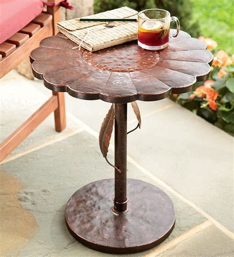 Copper Patio Table Outdoor Antique Copper Sunflower Patio Table Backyard Garden Accent Stand Porch Ebay