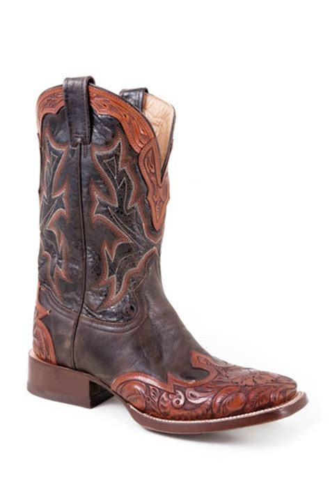 nib stetson mens cowboy boots brown leather wingtip