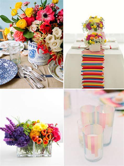 hey look colorful wedding inspiration table settings