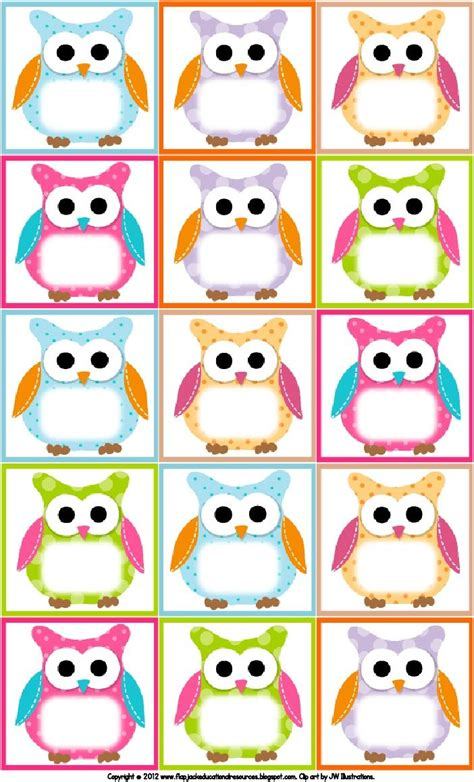printable owl labelsmy students    owls