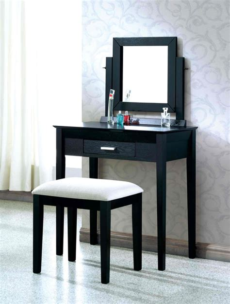 Modern Bedroom Vanity by Black Grain Veneer 2pcs Vanity Set Grey Fabric Stool By