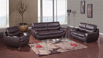 Chocolate Bonded Leather Contemporary Living Room Set Designer Living Room Sets