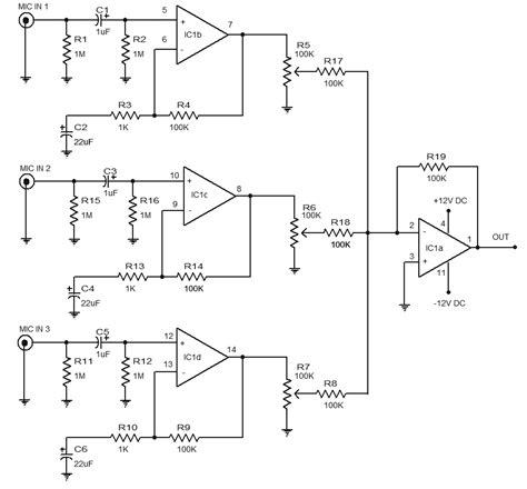 Mixer Audio Sederhana cara membuat skema rangkaian mixer 3 chanel ic lm348