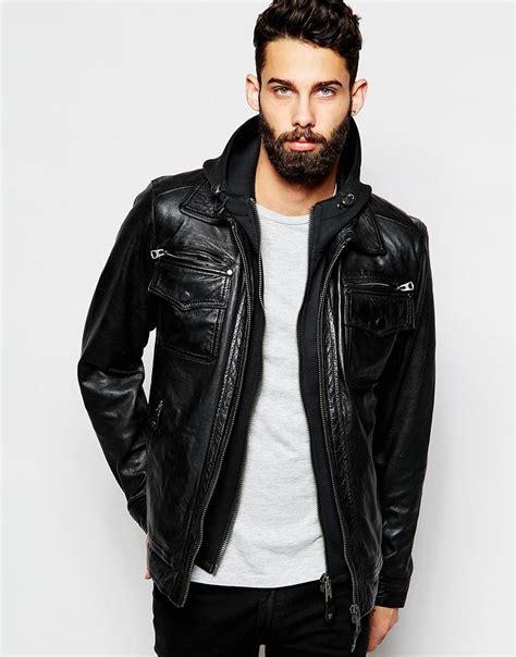 Jaket Vest Zipper Hoodie Dishonored 2 02 lyst schott nyc leather jacket with hoodie insert in