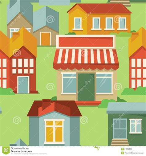 seamless pattern houses seamless pattern with cartoon houses royalty free stock