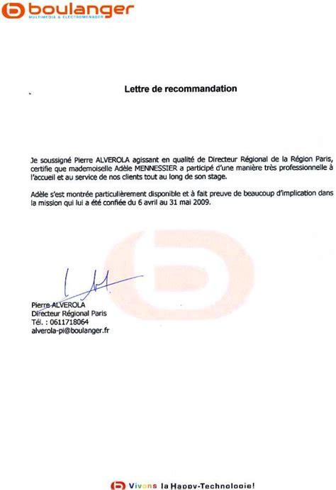 Lettre Recommandation Ecole De Commerce Lettre De Recommandation Boulanger Cv Ad 232 Le Mennessier