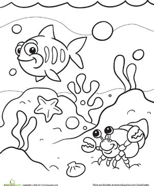 ocean coloring pages preschool under the sea worksheet education com
