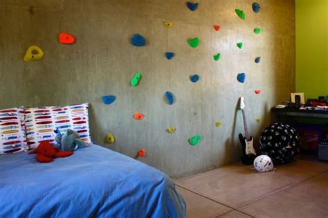 rock wall in bedroom modern homes featuring a rock climbing wall