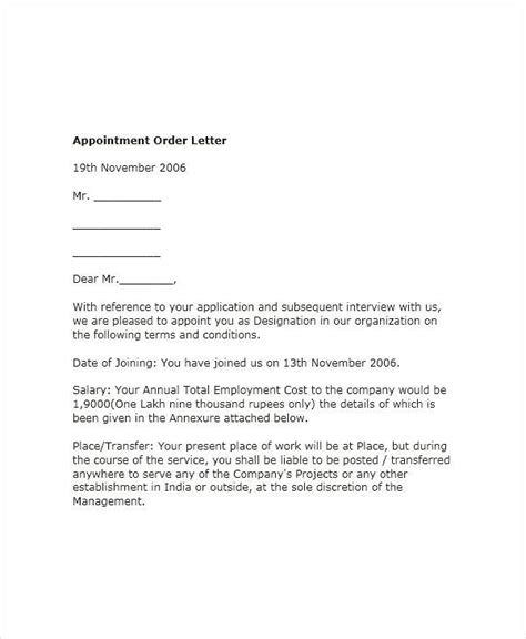 appointment letter format in word in india 51 sle appointment letters