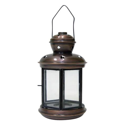 Candle Lantern iron candle lantern six sided clear glass antique