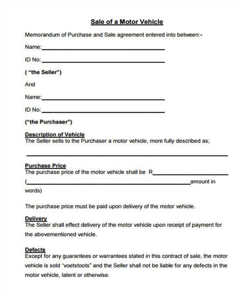 car sale agreement template 7 vehicle sales contract sles templates pdf doc