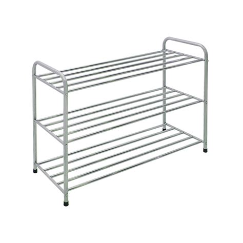 Warehouse Shoe Rack by 3 Tier Powder Coated Shoe Rack Bunnings Warehouse